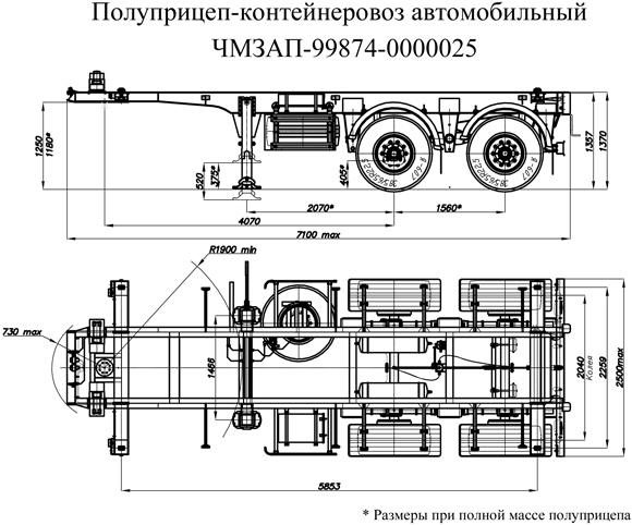 Полуприцеп  контейнеровоз характеристика
